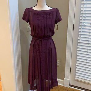 Vintage Nipon Boutique Plum Pleated Sheer Dress